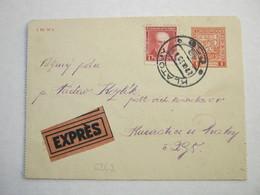1933 , Ganzsache Als Eilkartenbrief - Czechoslovakia