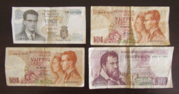 Belgique - Lot De 4 Billets 20 Francs, 50 Francs Et 100 Francs - 1964, 1966 Et 1974 - Divers états - België