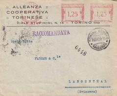 Alleanza Coperativa Torinese Raccomandata Rossa L. 1,25 + L. 1,25 Per La Svizzera - 1900-44 Victor Emmanuel III