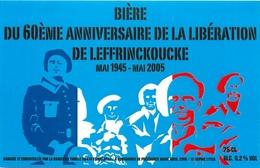 Ancienne étiquette F10 BIERE FRANCE BRASSERIE THIRIEZ - 60 E ANNIVERSAIRE DE LA LIBERATION - Bière