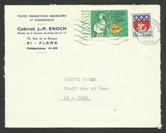 """Vignette """" Congrès Des Agents Immobiliers - Brest 1966 """" / Enveloppe Entete FLERS - ORNE - Erinnophilie"""