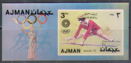 2843 ✅ Sport Athletics Olympics Olympic Games 3D 1972 Ajman S/s MNH ** Imp Imperf - Verano 1972: Munich