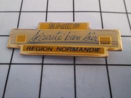 816a Pin's Pins / Beau Et Rare / THEME : TRANSPORTS / SNCF SECURITE BIEN SÛR REGION NORMANDIE - Transports