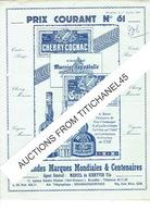 Tarif  Illustré 1952 Marcel De SCHRYVER Fils à BRUXELLES - Grand Marnier : Cognac, Cherry, Cordon Rouge, Cordon Jaune... - Advertising