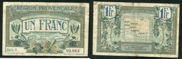 1 FRANC ND (1921-22) REGION PROVENCALE - Chamber Of Commerce