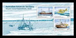 AAT 2020 Mih. 270/72 (Bl.28) Ship Wyatt Earp Expedition To Antarctica. Plane Vought Kingfisher MNH ** - Ungebraucht