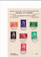 Feuillet Tirage Limité Commémoratifs 1945 Des Bals Du Cinéma Cinquantenaire Du Cinéma Bruxelles 701 à 707 - Bélgica