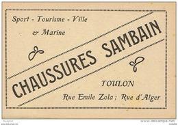 CPM..83..TOULON..CARTE PUBLICITAIRE..CHAUSSURES SAMBAIN..COSAQUE..2 SCANS - Toulon