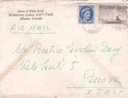 CANADA- BUSTA VIAGGIATA BY AIR MAIL - ALBERTA -  PRINCE OF WALES HOTEL - WATERTON LARES - VIAGGIATA PER GENOVA - ITALY - 1952-.... Règne D'Elizabeth II