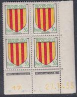 France N° 1044 XX : Armoiries De Provinces : Comté Foix En Bloc De 4 Coin Daté Du 27. 11 . 55 :1 Point Blanc Sans Ch. TB - 1950-1959
