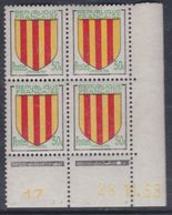 France N° 1044 XX : Armoiries De Provinces : Comté Foix En Bloc De 4 Coin Daté Du 26. 11 . 55 :1 Point Blanc Sans Ch. TB - 1950-1959