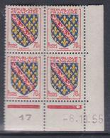 France N° 1045 XX : Armoiries De Provinces : Marche En Bloc De 4 Coin Daté Du 6 . 10 . 55 :1 Point Blanc Sans Ch. TB - 1950-1959