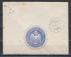 """Dt.Reich Portofreie Marinesache Wilhelmshaven 1908 , RückseitigSiegeloblate """" Kaiserliche Marine Werft Zu Wilhelmshaven - Germania"""