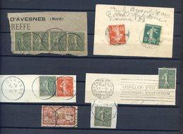 TIMBRES FRANCE, Lot De Timbres Sur Fragment, 6 Cachets Originaux - Non Classés