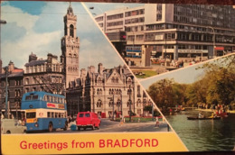 Cpsm, Bradford - Greetings From Bradford - Multiview - With Animation , Vintage Bus / Car , Used 1972, Stamped, ENGLAND - Bradford