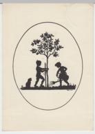 (25751) AK Scherenschnitt Kinder Beim Baumanpflanzen 1938 - Scherenschnitt - Silhouette
