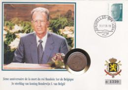 2 Scans Enveloppe Numérotée 2473 Roi Baudouin Pièce Fleur De Coin 20 Francs Belges - Numisletters