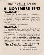 WW2 - 11 Nov.1943 - Tract Gaulliste Du Front National De La SOMME - Documenti Storici