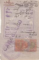 1948 VISA PASSPORT PAGE WITH PERSIA 4 REVENUE STAMPS LION - Iran