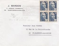 LETTRE . BLOC DE 4  N° 726 MARIANNE GANDON - 1945-54 Marianne De Gandon