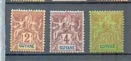 GUYA 394 - YT 31-32-36 * - Charnière Complète - Französisch-Guayana (1886-1949)