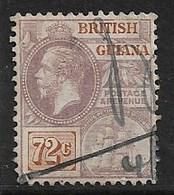 BRITISH GUIANA 1923 72c SG 281 Fiscal Cancel - British Guiana (...-1966)