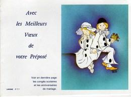 Calendrier De Poche La Poste Pierrot Colombine Avec Les Meilleurs Voeux De Votre Prepose1985 - Calendars