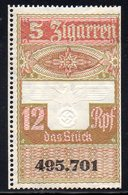 GERMANY 3RD THIRD REICH CIGAR BAND REVENUE 5 ZIGARREN 12RPF WW2 DEUTCHES REICH TR TOBACCO SMOKING - Germany