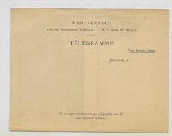 "Telegraphe, Télégramme ""Radio France-souvenir De Jérusalem"" - Telegraph And Telephone"