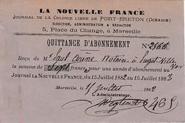 """1882 PORT-BRETON (OCÉANIE) - Abonnement Journal """"LA NOUVELLE FRANCE"""" Pour Un An - Historische Dokumente"""