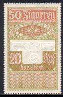 GERMANY 3RD THIRD REICH CIGAR BAND REVENUE 50 ZIGARREN 20RPF WW2 DEUTCHES REICH TR TOBACCO SMOKING - Germany