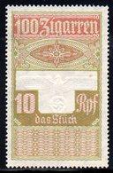 GERMANY 3RD THIRD REICH CIGAR BAND REVENUE 100 ZIGARREN 10RPF WW2 DEUTCHES REICH TR TOBACCO SMOKING - Germany