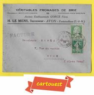 ENVELOPPE ♥️♥️☺♦♦ H. LE MENS Successeur AVON ֎ FROMAGES DE BRIE ֎ Fontainebleau / Nice 1929 - France
