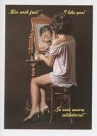 Je Suis Encore Célibataire, Bin Noch Frei, Y Like You... Pin-up Miroir (cp Vierge N°8351) - Humour