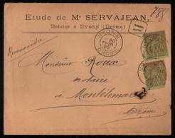 France Enveloppe Recommandé Affranchi Par 2 Sage YT 96 Cote Maury Sur Lettre Recommandé Page 510 Cote 60€ - 1876-1898 Sage (Type II)