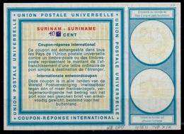 SURINAME Vi19 HS Violet 40 / 30 CENTS International Reply Coupon Reponse IRC IAS Antwortschein Mint ** - Surinam