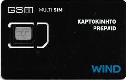 Greece - Wind - Cardphone Prepaid MultiSim Black GSM SIM6 Mini-Micro-Nano, Mint - Greece