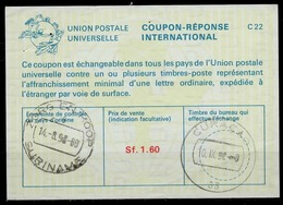 SURINAME La25A Sf. 1.60 Int. Reply Coupon Reponse IRC IAS Antwortschein O ZORG EN HOOP 14.8.92 / Redeemed CURACAO - Surinam