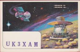 USSR Russia QSL Card Amateur Radio Funkkarte 1979 Space Exploration Venera Planet Venus Shuttle Propaganda Kaluga Oblast - Radio Amateur