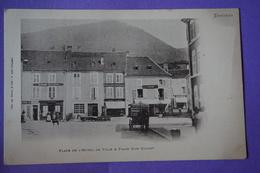 CPA 88 SENONES PLACE HOTEL DE VILLE & PLACE DOM CALMET ATTELAGE RARE PLAN BAGARD TAILLEUR Canton RAON L'ETAPE - Senones