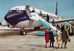 AVIATION CIVILE - BOAC : AVION Au SOL : FLIGHT By ROLLS-ROYCE 707 JETLINER - ADVERTISING POSTCARD ~ 1960 - '965 (ae430) - 1946-....: Ere Moderne