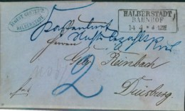 "1872, Unfrankierter Faltbrief Ab ""HALBERSTADT BAHNHOF"", Taxe ""2"" - Oldenburg"