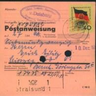 """1959, Postanweisung Mit 4ß Pfg. """"10 Jahre DDR"""" über 27,60 DM Von STRALSUND - DDR"""