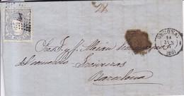 Año 1870 Edifil 107 50m Sellos Efigie Carta  Matasellos Rombo Gerona A Barcelona Membrete Martirian Ramio - 1868-70 Gobierno Provisional