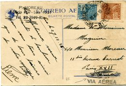 BRESIL CARTE POSTALE PAR AVION AIR FRANCE DEPART SUCCURSAL. N°7 - CORR. AEREO 28 XII 35 - RIO - POUR LA FRANCE   (RR) - Luchtpost