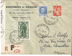 Lettre Recommandée De Paris à Bruxelles 27/10/1941 Censure De Cologne - 1941-42 Pétain