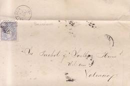 Año 1870 Edifil 107 Efigie Carta Matasellos Rombo Barcelona  Dirigida A Valencia Membrete Viuda Marti Codolar - 1868-70 Gobierno Provisional