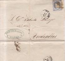 Año 1870 Edifil 107 50m Sellos Efigie Carta   Matasellos Rombo Bilbao,a Tordesillas Membrete Fourcade Hermanos - 1868-70 Gobierno Provisional