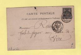 Carte Privée - Imprimerie Oberthur & Fils - Rennes - 25 Fevr 1879 - Type Sage - 1877-1920: Période Semi Moderne