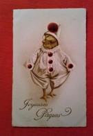 CPA Fantaisie/ Poussin Habillé En Pierrot/ Joyeuses Pâques/ 1922 - Animaux Habillés